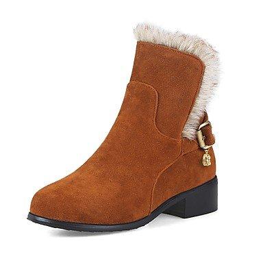 Round Wade Stiefel CN32 Perlenschnalle für Nachahmung Toe Winter EU33 RTRY Stiefel der Damenschuhe Stiefel Chunky Mitte US3 Heel Nubukleder Kampfstiefel UK1 5 Mode Herbst 5 6wvAxp