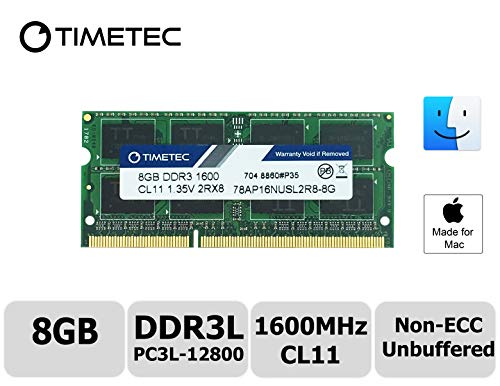 Timetec Hynix IC Apple 8GB DDR3L 1600MHz PC3L-12800 SODIMM Memory upgrade For MacBook Pro 13-inch/15-inch Mid 2012, iMac 21.5-inch Late 2012/ Early/Late 2013 (8GB)