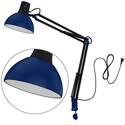 ToJane Swing Arm Desk Lamp with C-Clamp Household Architect Light (Blue)