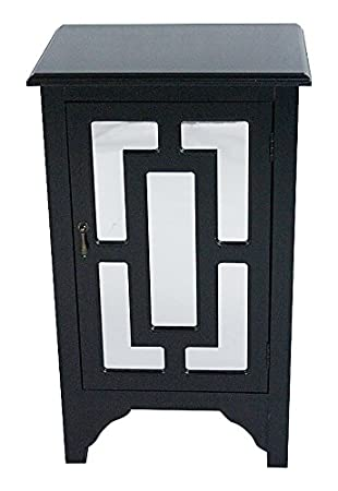 Heather Ann Creations W191318M BLK 30u0026quot; Black Becker Collection  Handcrafted Greek Key Wood Living
