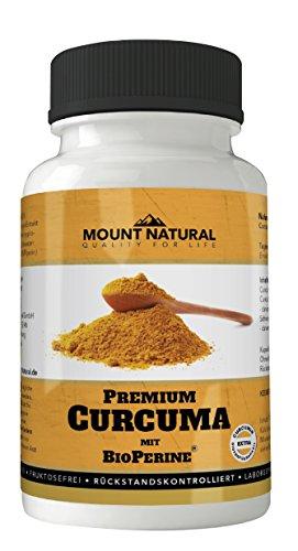 Mount Natural laborgeprüftes Curcuma hochdosiert mit Curcumin und Bioperine Piperin, 90 vegane Kapseln