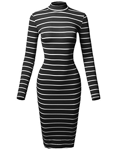Made by Emma Casual Striped Long Sleeve Mock Neck Midi Dress Black White L - Spandex Striped Sweater