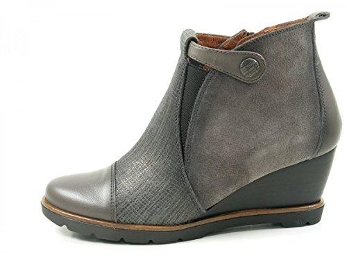 HispanitasAmberes HI63891 Botines de cuero para mujer Ankle Boots Grau