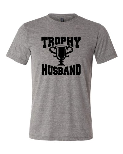 X-Large Grey Adult Trophy Husband Novelty Funny Father's Day Valentine's Day Triblend Short Sleeve T-Shirt