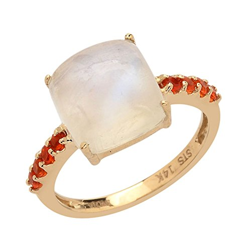14K Yellow Gold Blue Moonstone, Fire Opal Ring Size 7