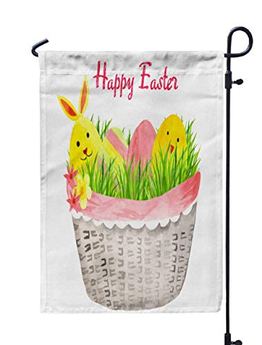 Shorping Welcome Garden Flag, 12x18Inch Easter Basket Eggs Watercolor Sweet White Background Your Decor a for Holiday and Seasonal Double-Sided Printing Yards Flags]()
