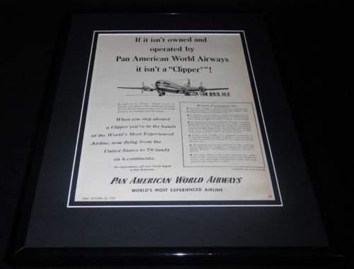 - 1951 Pan American Am Airlines Framed 11x14 ORIGINAL Vintage Advertisement D