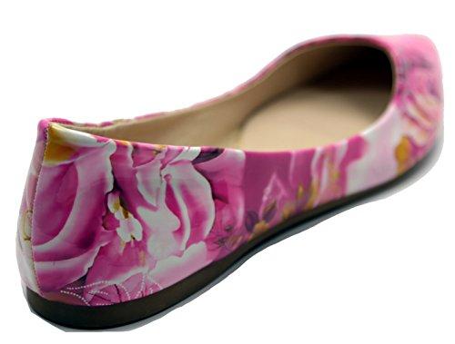 Walstar Dames Basic Punt Teen Ballet Flats Flo11-fuchsia