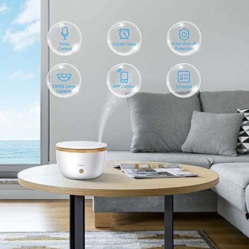 Alexa Diffuseur d'Huiles Essentielles WiFi, Etersky 500ml Humidificateur d'Air Maison Smart Aromathérapie Diffuseur de Parfum Electrique, Compatible avec Alexa/Google Home, Timer et Contrôlé par APP