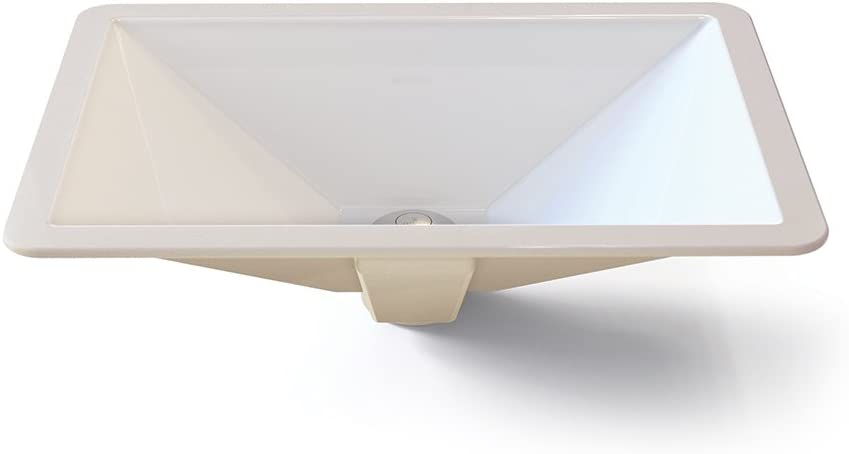 DECOLAV 1409-CWH Amabella Classically Redefined Rectangular Vitreous China Undermount Lavatory Sink, White