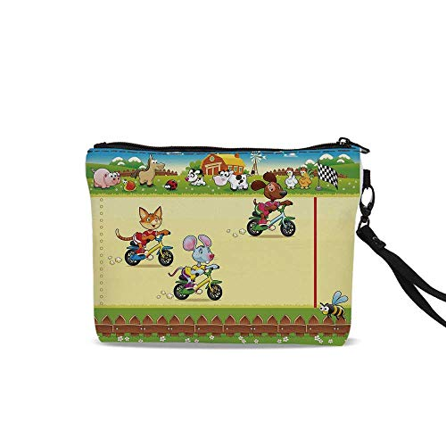 Kids Travel Cosmetic Bag,Racing Mouse Cat and Dog on the Bike in Farm with Animal Comic Caricature Illustration For Women Girl,9