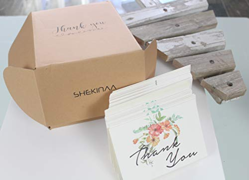 Thank You Cards Pack Of 100 - Blank Thank You Notes - Floral Water Colors - 4 X 6 Inches Thick White Note And Envelope - Personal And Business Use - Wedding And Baby Showers Photo #6