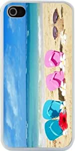 Deal Market LLC - Pink and Yellow Flip Flops with Starfish and Red and White Flowers on Sunny Beach Design Iphone 5 & 5s Case Cover (White Rubber with Bumper Protection) for Apple Iphone 5 & 5s Includes Screen Protector