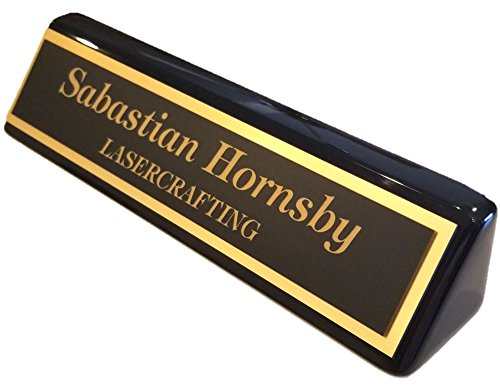 Executive Name Plate, Black Piano Finish Gold Plate 2