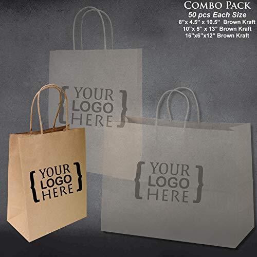 8''x4.75''x10''-10''x5''x13''-16''x6''x12'' - 50 Pcs Each - Custom Printed Bagsource Brown Kraft Paper Bags 95% Post Consumer Materials & FSC Certified … (Custom Printed) by Bag Source (Image #1)