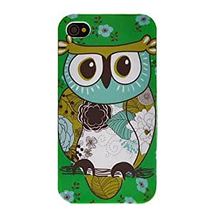 Cartoon Style Owl and Green Vase Pattern TPU Case for iPhone 4/4S