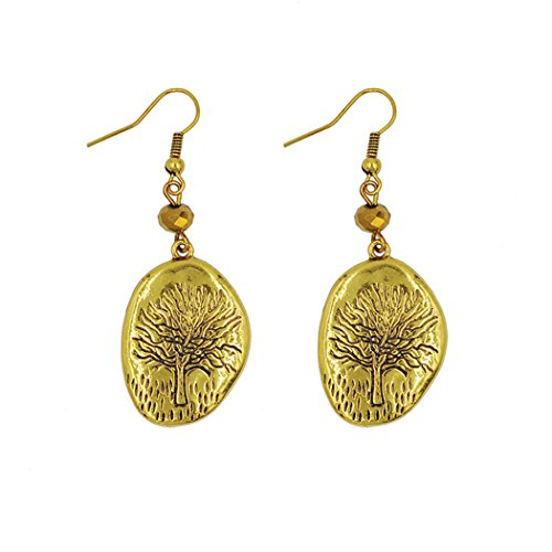 [Real Spark Women Girls Fashion Plated Gold & Silver Tree Of Life Elegant Circle Drop Dangle Statement Earrings] (Seahorse Costume Uk)