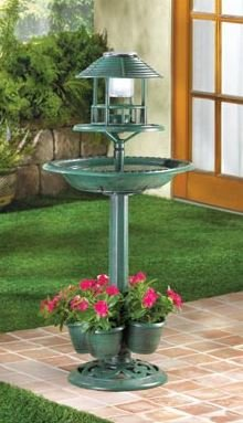 SKB Family Verdigris Garden Centerpiece Solar Birdbath Planter Night Light Bird Bath Lighting Patio Yard Decor One Lighted