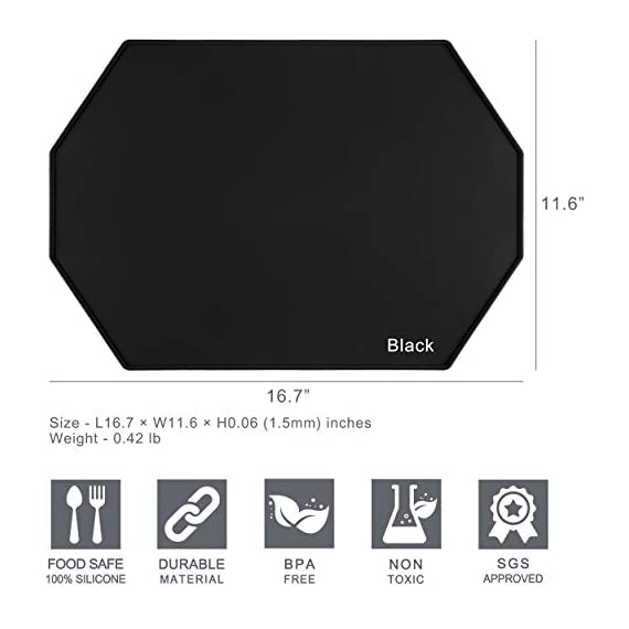 Lazy K Silicone Placemats - Octagon with Raised Edges - Non Slip Waterproof Silicone Mat - Simple Modern Design - Heat-Resistant Kitchen Table Mats - Black (Set of 2) - ECO-FRIENDLY - Hygienic and food-grade. Made with 100% silicone and BPA free SGS certified HIGH QUALITY - Placemats are sturdier than other thin placemats while remaining incredibly flexible. Grips well to most surfaces MODERN DESIGN - Simple and modern design and soft colors that compliment any wood or marble table or countertop. Raised edges help to prevent spills - placemats, kitchen-dining-room-table-linens, kitchen-dining-room - 414vds4eKDL. SS570  -
