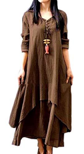 Loose Two AU Linen Vintage line Sodossny Cotton Layer Women Long V Dress 1 A Neck aSXqPzwnq