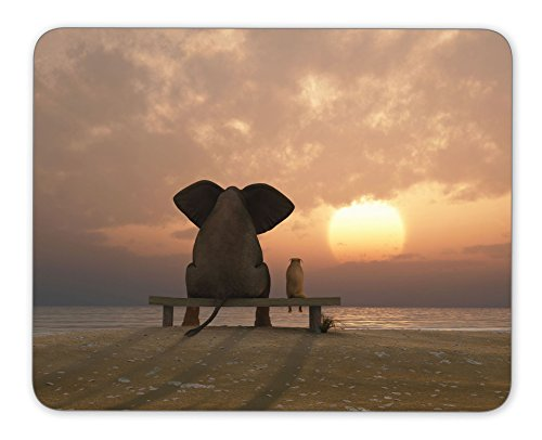 Elephant-and-dog-sit-on-a-summer-beach-Mouse-pad-mouse-pad-mouse-pad-mice-pad-mouse-pad-the-office-mat-mouse-pad-Mousepad-Nonslip-Rubber-Backing