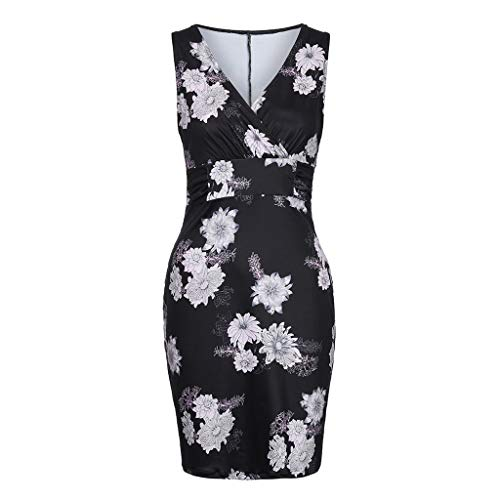 23a1c5b091980 Women's Mini Dress LuluZanm Ladies Summer V Neck Boho Dresses Casual Print  Sleeveless Beachwear Sundress Black