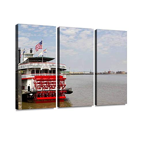 Steamer Natchez Print On Canvas Wall Artwork Modern Photography Home Decor Unique Pattern Stretched and Framed 3 Piece