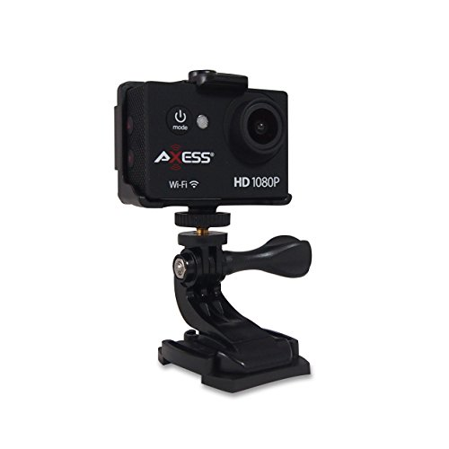 AXESS CS3608 1080P Wide Angle Lens Sports and Action Video Camera with Waterproof Housing, Accessories and Built-in WiFi (Black)