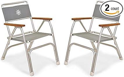 FORMA Marine Set of 2 High Back Deck Chairs Boat Chairs Anodized Folding Model M150G Aluminium Light Grey