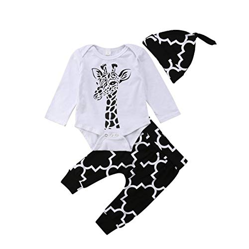 Newborn Baby Boys 3Pcs Pants Sets Giraffe Romper Striped Print Pants with Hat Outfits Set