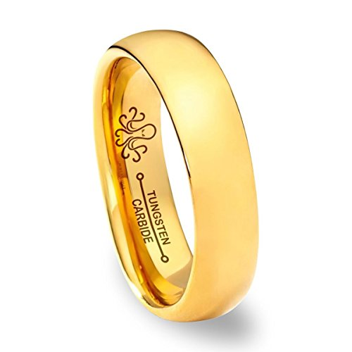 (Oceanus Tungsten Wedding Band Ring 5mm for Men Women Comfort Fit 18K Yellow Gold Plated Plated Domed Polished)