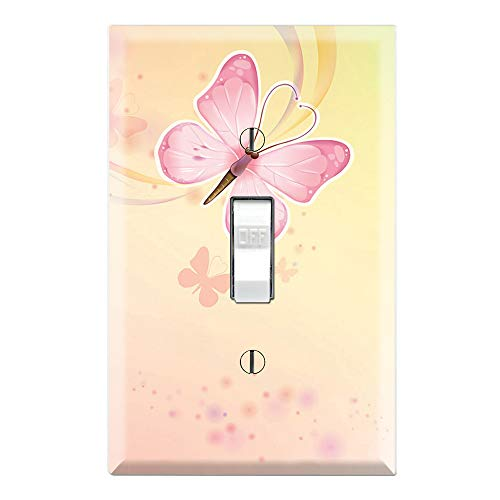 Graphics Wallplates - Pink Butterfly - Single Toggle Wall Plate Cover ()