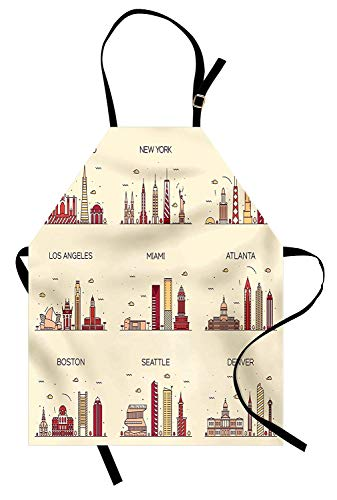 USA Apron American Cities San Francisco New York Chicago Los Angeles Miami Silhouettes Kitchen Bib Apron Ideal for Cooking Dishwashing Cleaning Painting, Cream Red Mustard