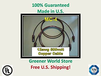 15 Foot Mc4 Solar Cables for Photovoltaic Solar Panels with Mc4 Solar Connector Cables 15 Feet Long and Mc4 Connectors At Each End.