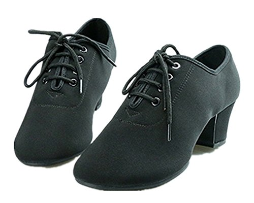 NLeahershoe Black Lace-up Dancing Oxford Latin Shoes Chunky High Heel Shoes For Women Foxtrot, Rumba, ChaCha, Swing, Disco Dance (8 B(M) US/41 EU)