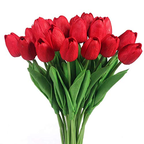 Justoyou Tulip Real, flores artificiales para ramos de boda, hogar, hotel, decoracion de jardin, eventos, Navidad, como regalo, rojo, 20 piezas.