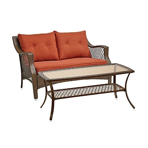 Stratford 2-piece Comfortable Relaxing Wicker Outdoor Loveseat Set Includes One Cushioned Wicker Loveseat and a Steel Coffee Table with a Tempered Glass Top, Durable Rust-resistant Steel Frame, Seat Supports up to 250 Lb. Perfect for Relaxation by Stratford