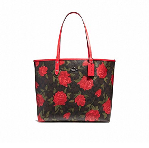(COACH REVERSIBLE CITY TOTE WITH CAMO ROSE FLORAL PRINT STYLE, F25874,)