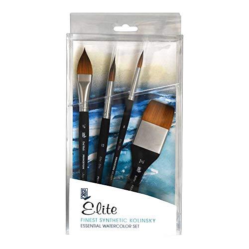 Princeton Elite NextGen Artist Brush, Synthetic Kolinsky Sable for Watercolor, Series 4850, 4 Piece Professional Set -