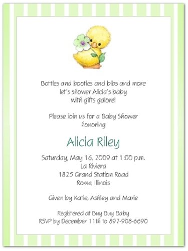 Yellow Ducky on Mint Baby Shower Invitations - Set of 20 ()