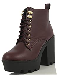 Soda Women's Climate Faux Leather Lace-Up Thick Platform Chunky Heel Lug Ankle Bootie