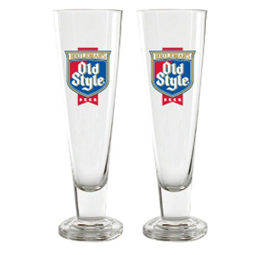 Heileman's Old Style Beer Tall Pilsner Glass Officially Licensed, Set of - Beer Pilsner Style