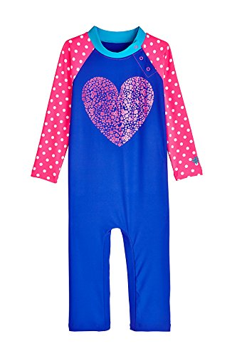 Coolibar UPF 50+ Baby Beach One-Piece Swimsuit - Sun Protective (12-18 Months- Floral Heart)