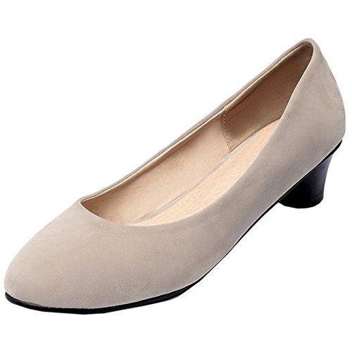 TAOFFEN Femme Mode Bloc A Enfiler Chaussures Basse Taille Peu Beige