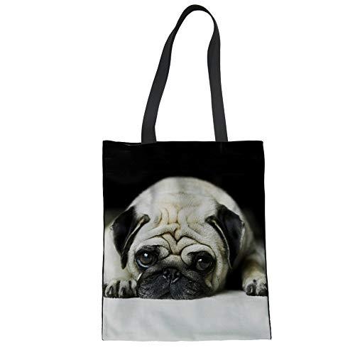HUGS IDEA Pug Dog Cute Canvas Linen Tote Shopping Bag Reusable Shoulder Bags Top Handle Bags for Women Girls