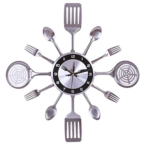 XSHION 16-1/3 Inch Kitchen Wall Clock with Utensil Spoon Fork Metal Silent Non Ticking Wall Clock for Home Hotel Decor - Silver