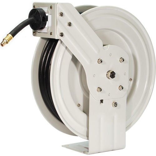 Primefit HRRUB380503 Industrial Grade Retractable Air Hose Reel with 50-Foot Rubber Air Hose