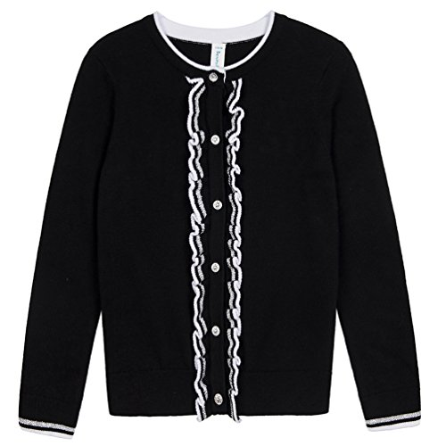 Benito & Benita Girls' Sweater Crew Neck Cardigan Soft Cotton Long Sleeve Sweaters Black for 3-12Y