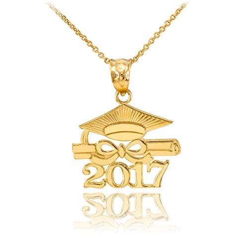 14k Gold Diploma Charm (14k Yellow Gold Diploma & Cap Charm 2017 Graduation Necklace Pendant)