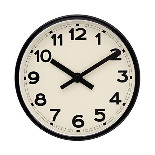 COMODO CASA Wall & Desk Clock- Metal Black Frame-Glass Cover-Non Ticking-Quartz Sweep-Silent 6 inch Retro Clock,Beige